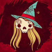 Illustration of skull with blond hair and a hallowen hat on grun — Stock Vector