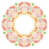 Round frame from etno floral ornament — Stock Vector