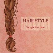 Braided brunette hair vintage style poster — Stock Vector