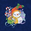 Cute christmas snowman on blue background — Stock Vector
