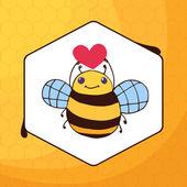 Cute cartoon bee with heart — Stock Vector