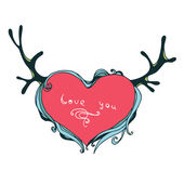 Isolated heart with antlers on vintage style — Wektor stockowy