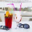 Stock Photo: Coktails in open air café