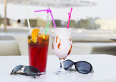 Coktails in the open air café — Stock Photo
