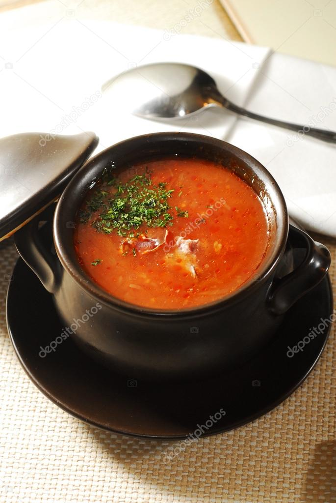 Ukrainian traditional soup borscht in pot — Stock Photo #13312018