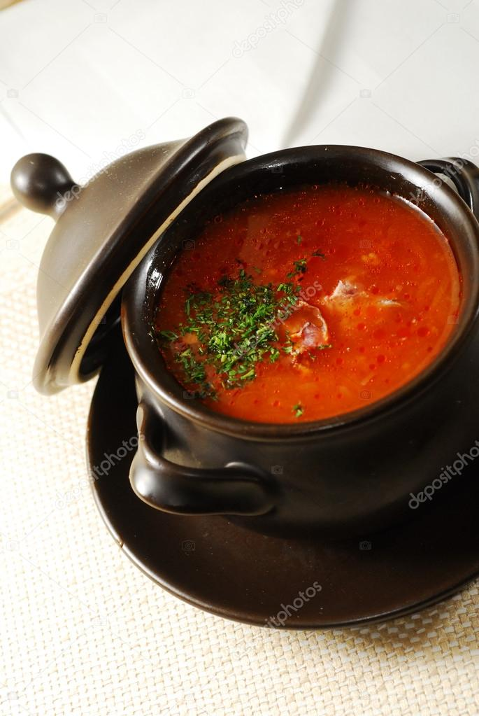 Ukrainian traditional soup borscht in pot — Stock Photo #13689537