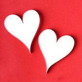 Valentine's paper hearts on red — Foto de Stock