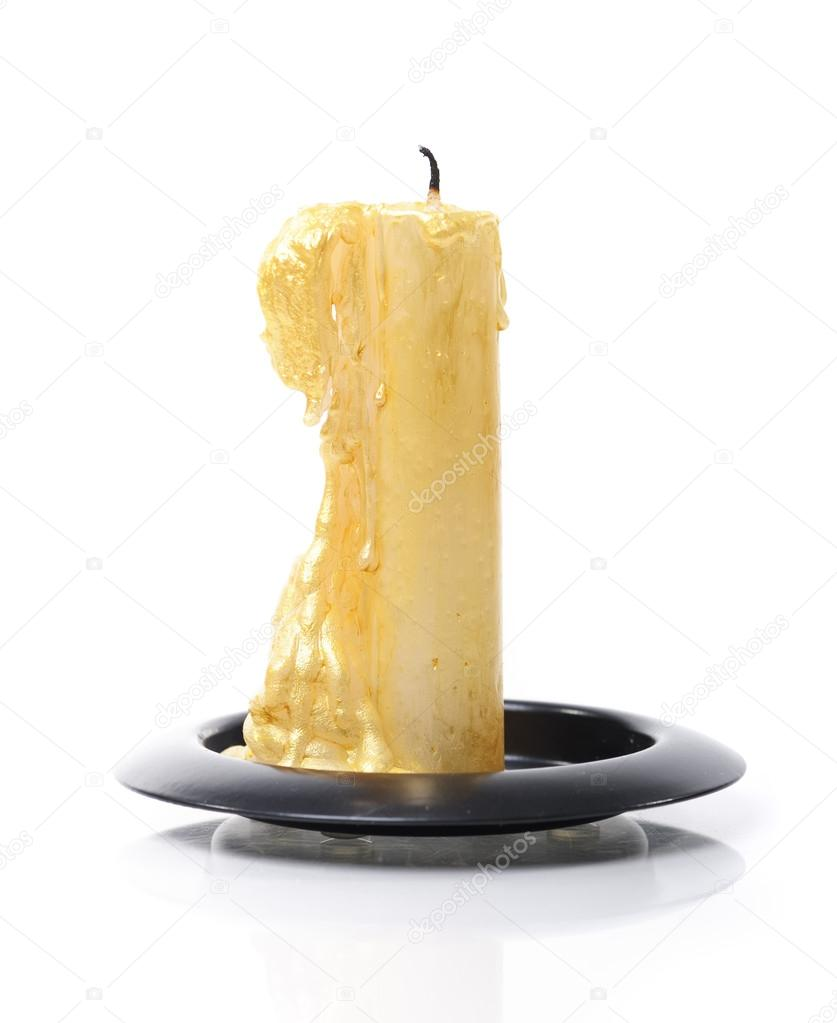 Burned candle isolated on white background — Stock Photo #13731904