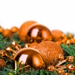 Christmas ball on fir decoration — Stock Photo