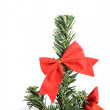Christmas tree with red ornaments isolated — Foto de Stock
