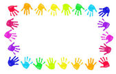 Colorful hands prints — Stock Photo