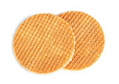 Round ruddy waffles — Stock Photo