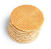 Round ruddy waffles — Stock Photo