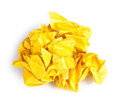 Screwed up piece of yellow paper — Stock Photo