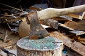 Hatchet in log — Stock Photo