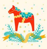 Dala horse — Stock Vector