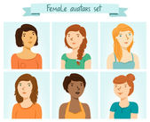 Female avatars set — Stock Vector