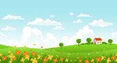 Sunny day landscape — Stock Vector