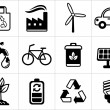 Eco icons in black and white — Stock Vector