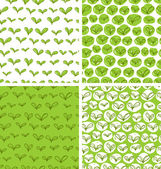 Patterns with fresh green leaves — Stock Vector