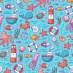 Sea doodles color pattern — Stock Vector #27041541