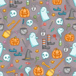 Stock Vector: Halloween doodle pattern in color