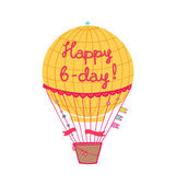 Happy b-day hot air balloon — Stock Vector