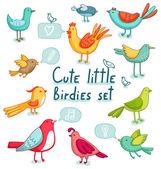 Cartoon birds set — Stock Vector