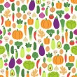 Stock Vector: Flat vegetables pattern