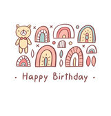 Happy birthday greeting bear — Stock Vector