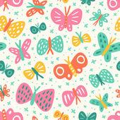 Doodle butterflies pattern — Stock Vector