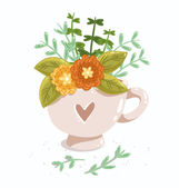 Cup with flowers — Stock Vector