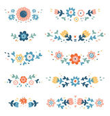 Decorative colorful floral compositions — Stock Vector