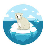 Polar bear on ice — Stock Vector