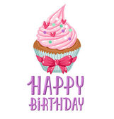 Birthday cupcake — Stock Vector