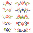 Decorative colorful floral compositions set 2 — Stock Vector