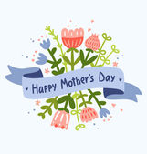 Happy Mother's Day floral greeting — Stock Vector