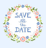 Save the date floral wreath — Stock Vector
