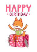 Happy birthday fox — Stock Vector