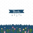 Thank you card with floral decorations — Cтоковый вектор