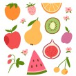 Stylized flat fruits, berries and pink flowers — Stock Vector