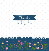 Thank you card with floral decorations — Stock Vector