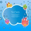 Children frame with fish. vector illustration — Stock Vector