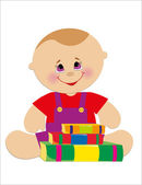 Children's birthday card. vector illustration. — Vector de stock