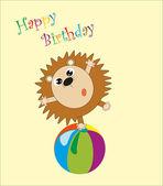 Birthday. funny animals on the ball. vector illustration — Stock Vector