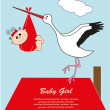 Stock Vector: Stork with baby in bag. vector illustration