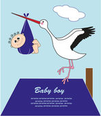 Stork with a baby in a bag. vector illustration — Stock Vector