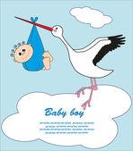 Cigüeña con un bebé en una bolsa. ilustración vectorial — Vector de stock