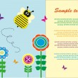 Children's fun card with a bee. vector illustration — Stock Vector #19686267