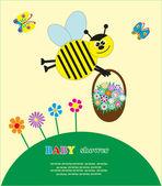 Chá de bebê com uma abelha bonitinha. ilustração vetorial — Vetor de Stock